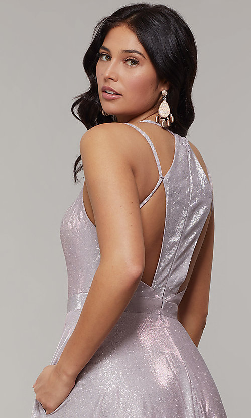 Image of magenta mauve glitter long formal prom dress. Style: JT-203 Detail Image 2