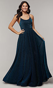 Image of strappy-open-back long glitter-crepe prom dress. Style: JT-204 Front Image