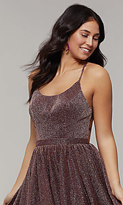 Image of strappy-open-back long glitter-crepe prom dress. Style: JT-204 Detail Image 6