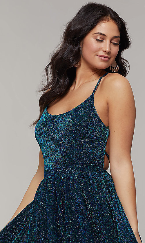 Image of strappy-open-back long glitter-crepe prom dress. Style: JT-204 Detail Image 1