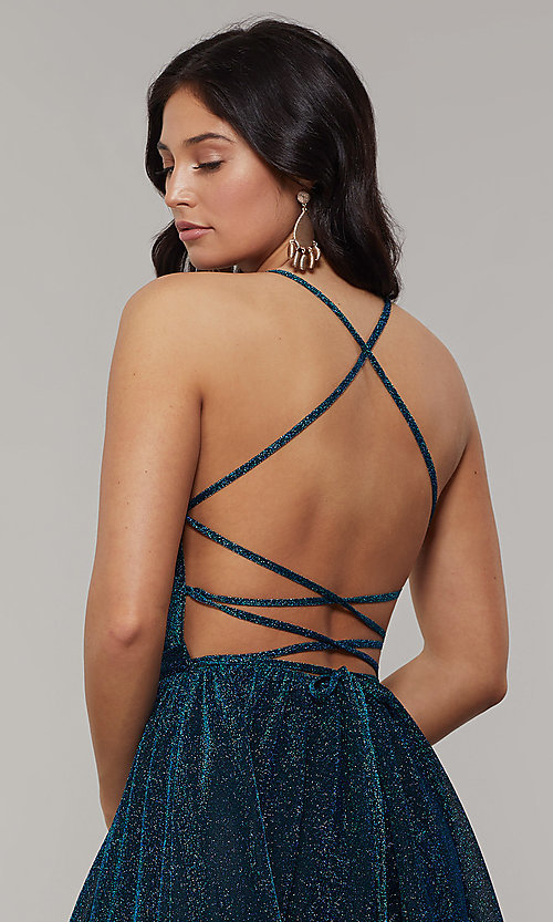 Image of strappy-open-back long glitter-crepe prom dress. Style: JT-204 Detail Image 2