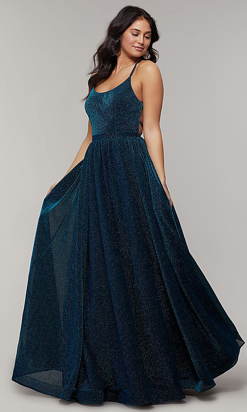 Image of strappy-open-back long glitter-crepe prom dress. Style: JT-204 Detail Image 3