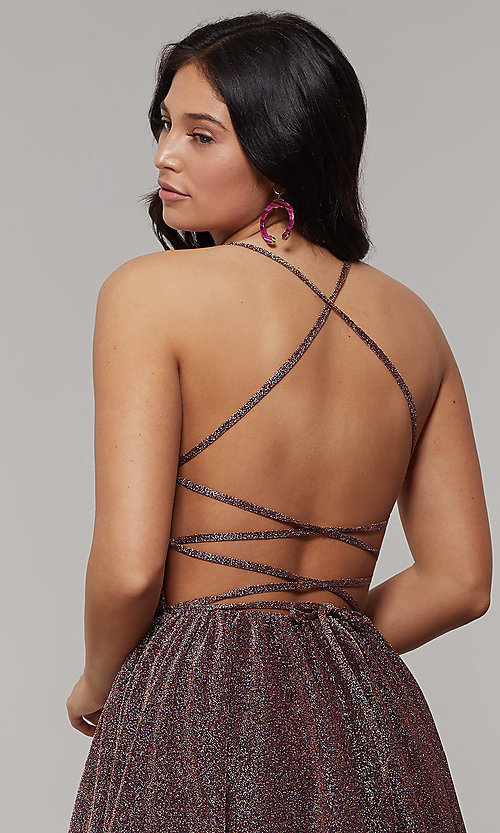Image of strappy-open-back long glitter-crepe prom dress. Style: JT-204 Detail Image 7