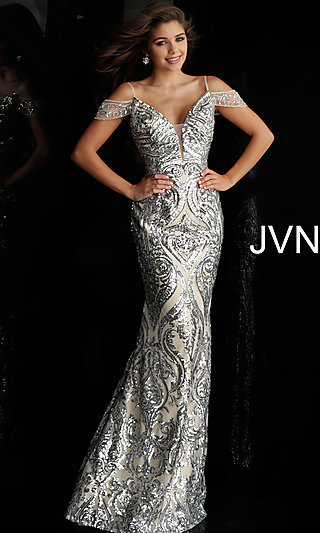 Long Silver Sequin Off-the-Shoulder Prom Dress