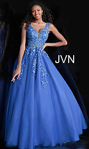 Image of ball-gown-style embroidered-bodice long prom dress. Style: JO-JVN-JVN68258 Front Image