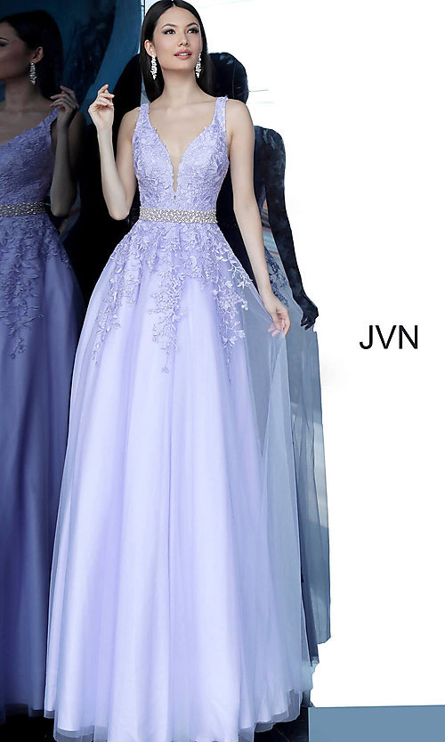 Image of ball-gown-style embroidered-bodice long prom dress. Style: JO-JVN-JVN68258 Detail Image 1