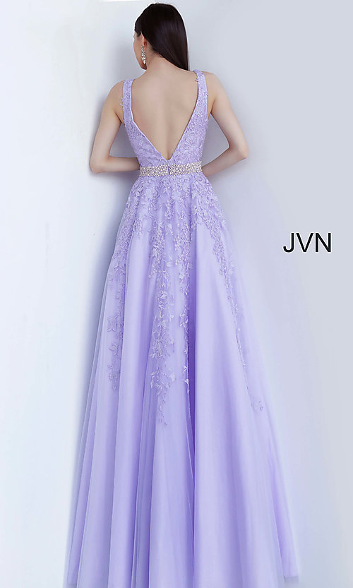 Image of ball-gown-style embroidered-bodice long prom dress. Style: JO-JVN-JVN68258 Detail Image 2