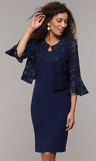 Knee-Length MOB Dress with Lace Jacket