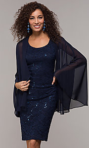 Image of knee-length sequin-lace MOB sheath dress with cape. Style: SD-S289680 Front Image