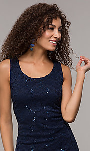 Image of knee-length sequin-lace MOB sheath dress with cape. Style: SD-S289680 Detail Image 1