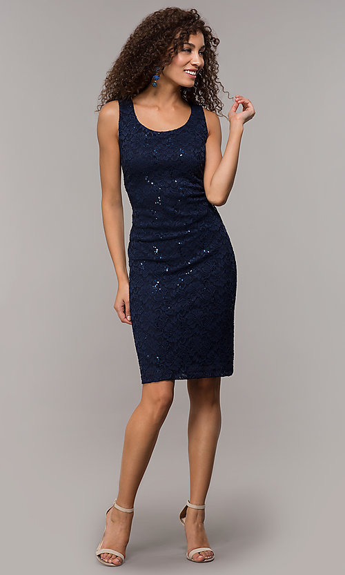 Image of knee-length sequin-lace MOB sheath dress with cape. Style: SD-S289680 Detail Image 3