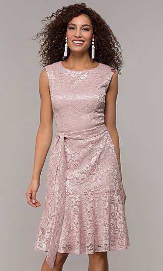 Glitter Lace Knee-Length Wedding Guest Dress