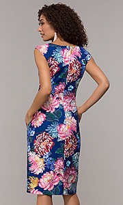 Image of floral-print knee-length blue wedding-guest dress.  Style: SD-S281020 Back Image