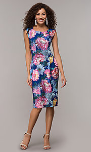 Image of floral-print knee-length blue wedding-guest dress.  Style: SD-S281020 Detail Image 3