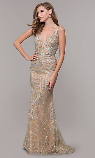 c488cb022e Long Beaded V-Neck Formal Prom Dress in Champagne. Share