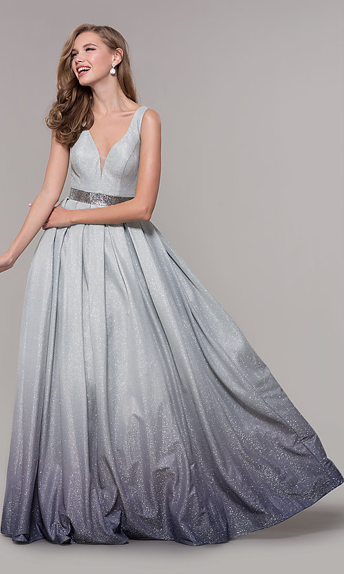 fe45d6c8 Long Glitter Silver Ombre Prom Dress