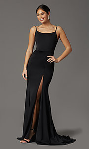 Image of long formal prom dress with illusion slit. Style: FB-GL2670 Detail Image 6