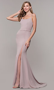 Image of long formal prom dress with illusion slit. Style: FB-GL2670 Front Image