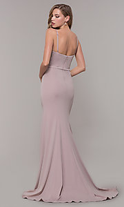 Image of long formal prom dress with illusion slit. Style: FB-GL2670 Back Image
