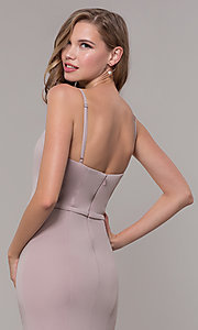 Image of long formal prom dress with illusion slit. Style: FB-GL2670 Detail Image 2