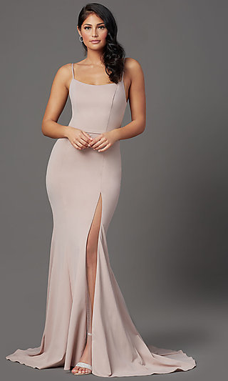 Long Formal Prom Dress with Illusion Slit