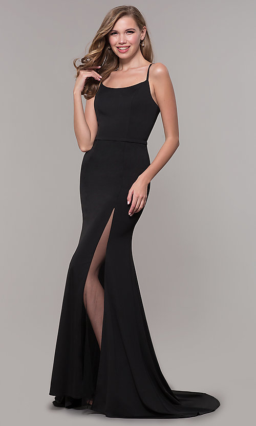 Image of long formal prom dress with illusion slit. Style: FB-GL2670 Detail Image 4