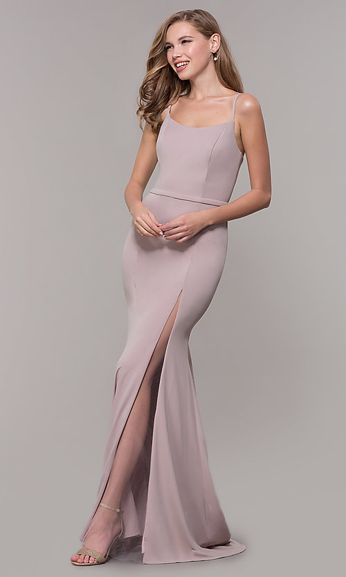 Image of long formal prom dress with illusion slit. Style: FB-GL2670 Detail Image 3