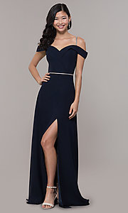 Image of long cold-shoulder sweetheart prom dress with slit. Style: FB-GL2665 Detail Image 4