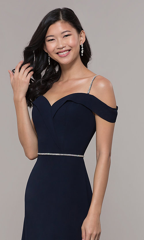 Image of long cold-shoulder sweetheart prom dress with slit. Style: FB-GL2665 Detail Image 6