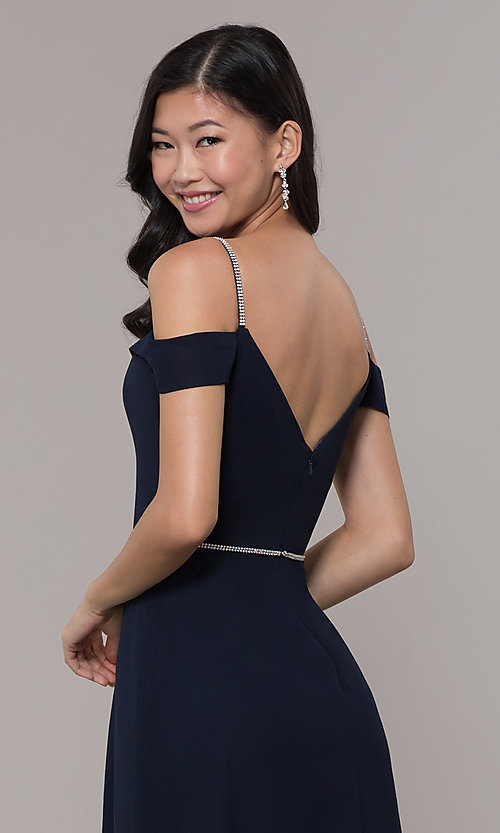 Image of long cold-shoulder sweetheart prom dress with slit. Style: FB-GL2665 Detail Image 7