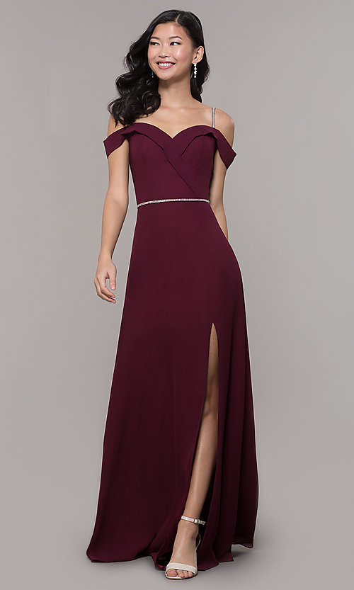 Image of long cold-shoulder sweetheart prom dress with slit. Style: FB-GL2665 Front Image