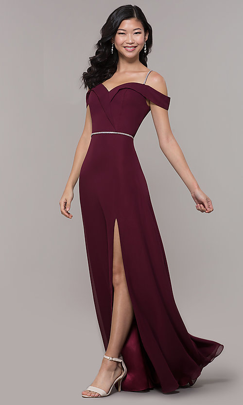Image of long cold-shoulder sweetheart prom dress with slit. Style: FB-GL2665 Detail Image 3