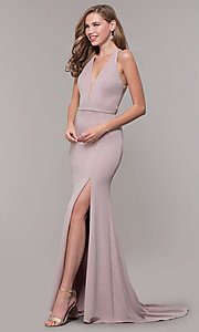 Image of v-neck long jersey prom dress with back cut out. Style: FB-GL2668 Detail Image 4