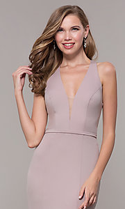 Image of v-neck long jersey prom dress with back cut out. Style: FB-GL2668 Detail Image 6