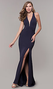 Image of v-neck long jersey prom dress with back cut out. Style: FB-GL2668 Front Image