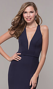 Image of v-neck long jersey prom dress with back cut out. Style: FB-GL2668 Detail Image 1