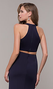 Image of v-neck long jersey prom dress with back cut out. Style: FB-GL2668 Detail Image 2