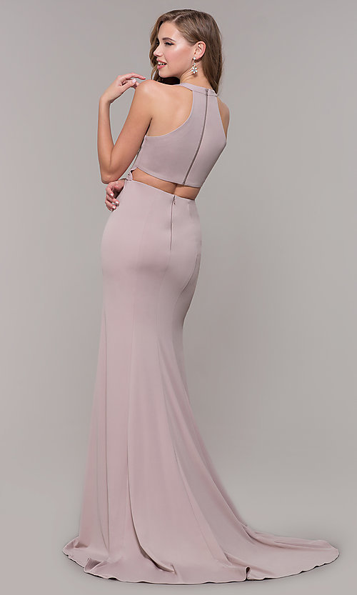 Image of v-neck long jersey prom dress with back cut out. Style: FB-GL2668 Detail Image 5
