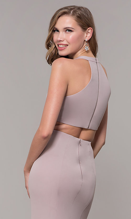 Image of v-neck long jersey prom dress with back cut out. Style: FB-GL2668 Detail Image 7