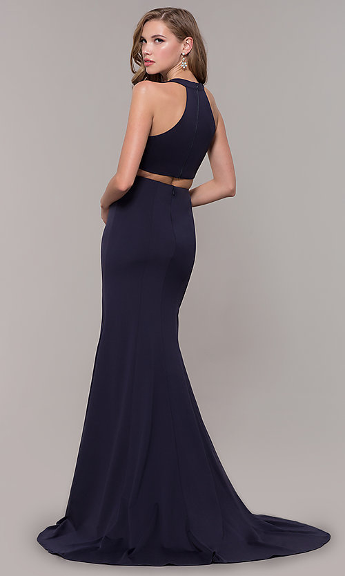 Image of v-neck long jersey prom dress with back cut out. Style: FB-GL2668 Back Image