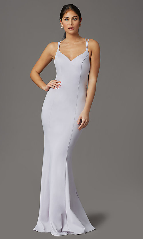 Image of lilac purple long strappy-back formal prom dress. Style: FB-GL2696 Back Image