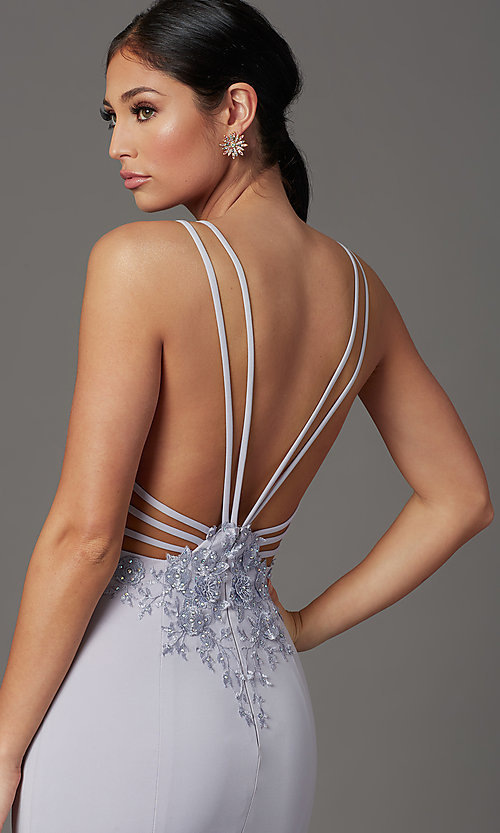 Image of lilac purple long strappy-back formal prom dress. Style: FB-GL2696 Detail Image 2