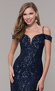 Image of cold-shoulder long sequin prom dress in navy blue. Style: FB-GL2552 Detail Image 1
