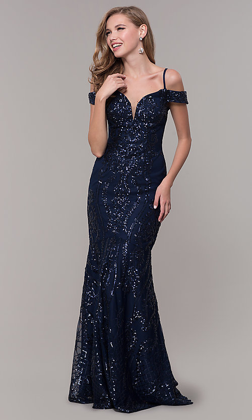 Image of cold-shoulder long sequin prom dress in navy blue. Style: FB-GL2552 Front Image