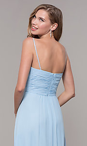 Image of long chiffon formal prom dress with beaded straps. Style: FB-GL2666 Detail Image 7