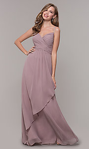 Image of long chiffon formal prom dress with beaded straps. Style: FB-GL2666 Detail Image 3