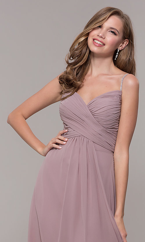 Image of long chiffon formal prom dress with beaded straps. Style: FB-GL2666 Detail Image 1