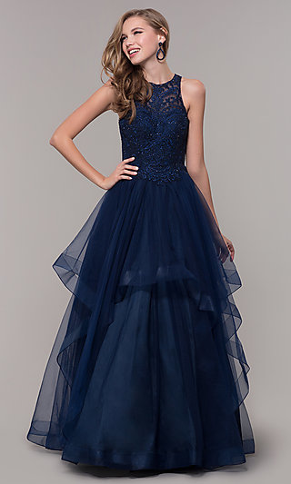 Long Navy Blue Ball Gown with Embroidered Bodice