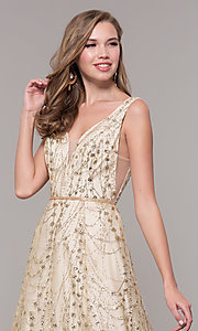 Image of long v-neck glitter champagne prom dress. Style: FB-GL2691 Detail Image 1
