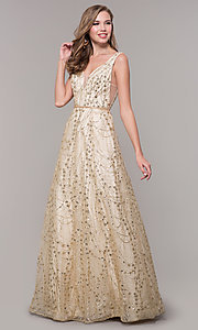 Image of long v-neck glitter champagne prom dress. Style: FB-GL2691 Front Image